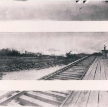 Image of Before, during and after photos of phosphate elevator fire of 1907 - Print, Photographic