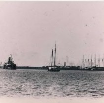 Image of Harbor panorama: Pilot boat in center, steamers and schooners - Print, Photographic
