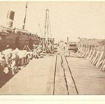 Image of Ship at Dock and equipment - Print, Photographic