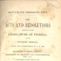 Image of The Acts and Resolutions adopted by the Legislature of Florida at its Seventh Session - Resolution