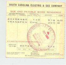 Image of Electric Bill from South Carolina ELectric & Gas Company - Bill of Sale
