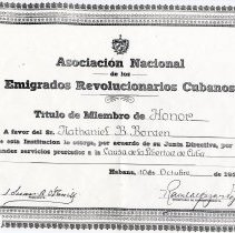 Image of Cuban revolutionary emigrants certificate