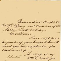 Image of Application for membership from Wm. F. Wood, Jr.