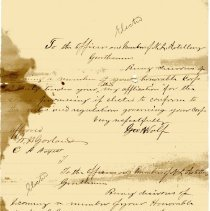 Image of Membership applications from Geo. Wolf and Theo. Wass to Nassau Light Artillery - Letter