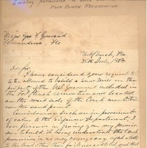 Image of Letter granting permission to build saw mill