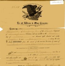 Image of Discharge order for Samuel D. Groome - Orders, Military