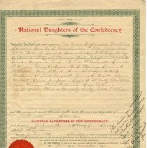 "Image of National Daughters of the Confederacy charter for ""Jacksonville"" Chapter - Certificate, Commemorative"