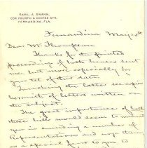 Image of Letter to Mr. Thompson from Sam Swann
