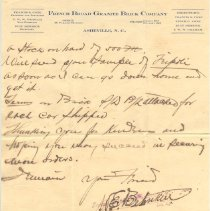 Image of Second page from French Broad Granite Brick Company to Mr. Thompson.