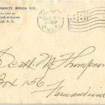 Image of Envelope for the letter from the French Broad Granite Brick Company