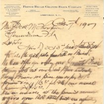 Image of Letter from French Broad Granite Brick Company to Mr. Thompson