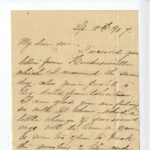 Image of Letter from Mrs. Thomspon 09/18/1907