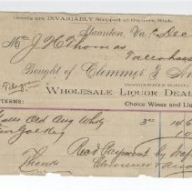 Image of Receipt for purchase of liquor