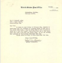 Image of Letter regarding mail service for American Beach