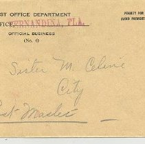 Image of Post Office correspondence regarding special delivery letter to Miss Lois Miner - Letter