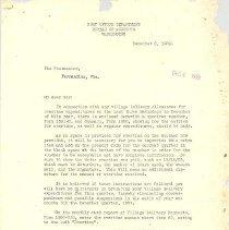 Image of Letter of Postmaster, Fernandina, Fla.