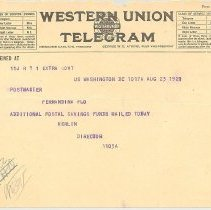 Image of Telegram to Postmaster at Fernandina, FL. - Letter