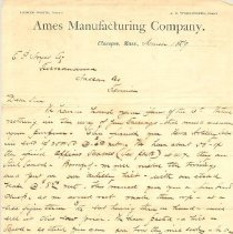 Image of Letter from Ames Manufacturing Company