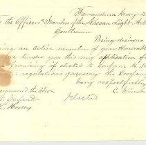 Image of Letter to Nassau Light Artillery