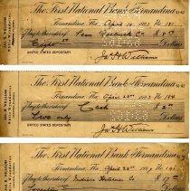 Image of Bank checks from The First National Bank of Fernandina