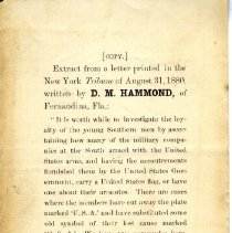 Image of Extract of letter by D. M. Hammond