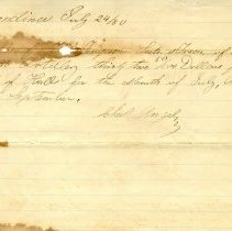 Image of Receipt for rent of Hall by Nassau Light Artillery