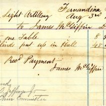 Image of Receipt of payment from Nassau Light Artillery