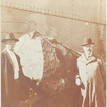 Image of Col. N. B. Borden and the largest poplar log - Print, Photographic