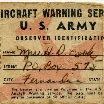 Image of Identification card for Aircraft Warning Service