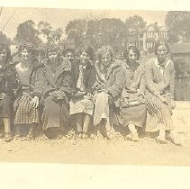 Image of Group of seated women wearing coats - Print, Photographic