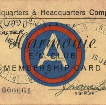 Image of E. M. Club Membership Card