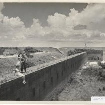 Image of Visitors on walls at Fort Clinch - Print, Photographic