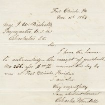 Image of Letter from Charles Wendell written Nov. 15th 1869