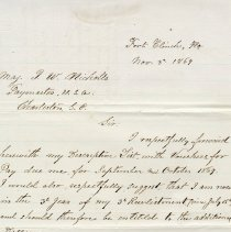 Image of Letter written by Charles Wendell on Nov. 3rd 1869