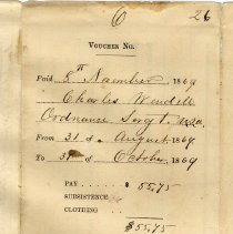 Image of Charles Wendell's pay receipt