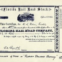 Image of Florida Rail Road Company stock certificate