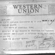 Image of Telegram informing Allen's parents of his POW release
