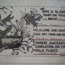 Image of Solo flight certificate
