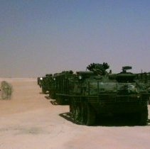 Image of Stryker vehicles in Iraq