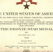 Image of Jones's Bronze Star certificate