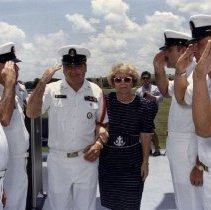 Image of Cason and wife at retirement ceremony 1990