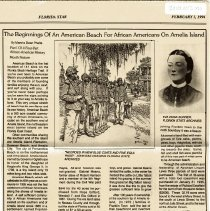 Image of The beginnings of an American Beach for African Americans on Amelia Island (published in Florida Star February 5, 1994) - Newspaper