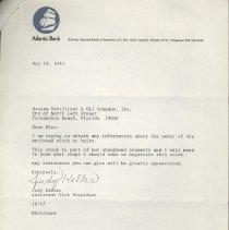 Image of Letter concerning Nassau Fertilizer & Oil Company stock - Letter