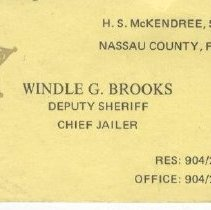 Image of Brooks business card as jailer