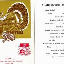 Image of Thanksgiving menu in Germany, 1967