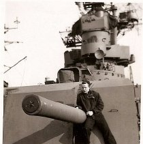 Image of Taylor on 5 inch gun