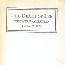 Image of The Death of Lee - Pamphlet