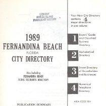 Image of 1989 Fernandina Beach Florida City Directory - Book