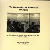 Image of The conservation and preservation of coquina - Book