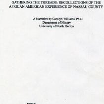 Image of Gathering the threads:  Recollections of the African American experience of Nassau County - Book